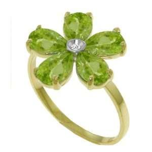 Round Diamond & Peridot Petal 14k Gold Flower Promise Ring Jewelry