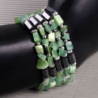 Green Cat Eye Magnetic Hematite Chip Bracelet Necklace