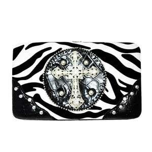 western cowgirl rhinestone cross animal print wallet clutch zebra