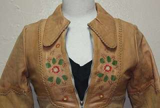 WOMENS VTG HAND MADE TOOLED CHAR LEATHER JACKET sz S