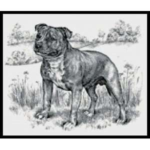 Staffordshire Bull Terrier B&W Counted Cross Stitch Kit