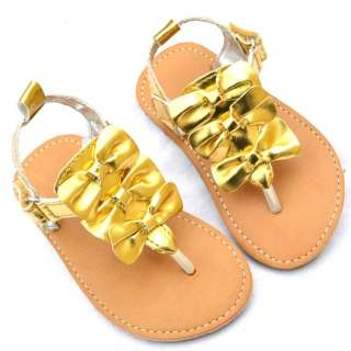 Gold bows kids toddler baby girl Mary Jane shoes sandals size 6 18