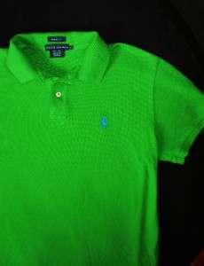 Womens RALPH LAUREN blue & green Preppy *Classic Fit* PONY Polo Shirt