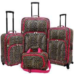 Pink Leopard Fashion 4 piece Spinner Luggage Set