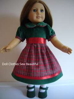 DOLL CLOTHES fit American Girl Addy Plaid Holiday Dress