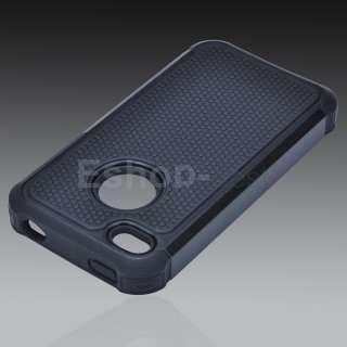 Black Rugged Rubber Matte Hard Case Cover For iPhone 4G 4S w/ Screen