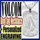 VOLCOM custom design ID Dog Tag Pendant Necklace