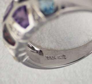 Genuine Multi Gemstone 14k White Gold wg diamond Ring