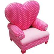 Newco Kids Princess Heart Chair, Minky, Pink Dot Newco Kids Princess