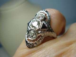 Art Deco 1.16 cwt 18K White Gold Diamond and Blue Stone