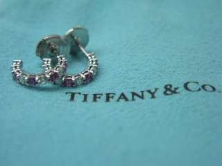 Tiffany & Co PLAT Pink Sapphire Diamond Hoop Earrings