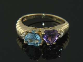 14K GOLD AMETHYST BLUE TOPAZ HEART & DIAMOND LADY RING
