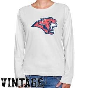 NCAA Houston Cougars Ladies White Distressed Logo Vintage Long Sleeve