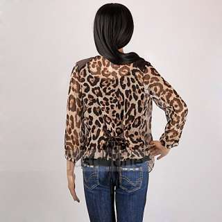 sexy women grils leopard print half sleeve tops shirt blouse thin