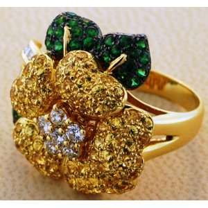 18kt Yellow Gold Diamond, Green Garnet, and Yellow Sapphire Ring (.65