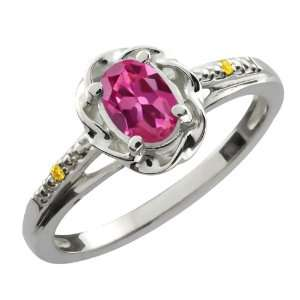 0.51 Ct Oval Pink Tourmaline Canary Diamond Sterling
