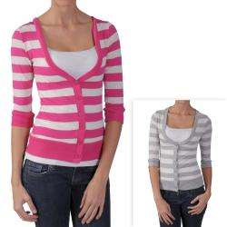 Journee Collection Juniors Striped 3/4 sleeve Cardigan
