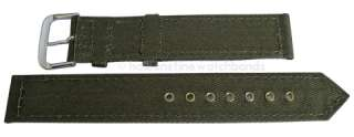 18mm Canvas Olive Green 2 Pc Grommets WWII Military Army Mens Watch