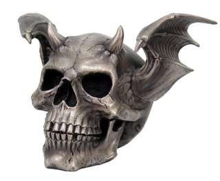 WINGED DEVIL SKULL STATUE SKELETON FIGURINE HORNED DEMON HELL BIKER
