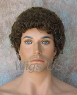Wigs Medium Brown Will Ferrell tight curls mens wig US Seller