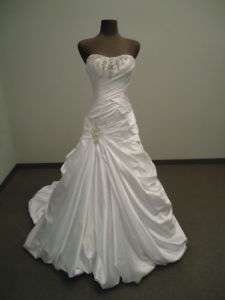 New white 395 satin beads A line wedding dress sizeAll