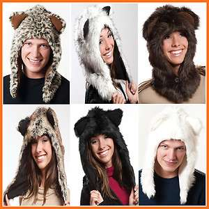 Unisex Faux Fur Fluffy Plush Animal Hood Hoodie Hat Trapper Trooper