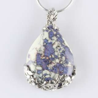 Teardrop Flower Howlite Turquoise Charm Pendant Bead
