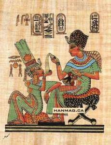 Egyptian Papyrus Art Painting   King Tut & wife #44