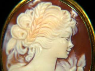 VINTAGE GOLD CARVED SHELL CAMEO BROOCH PIN 800 SILVER