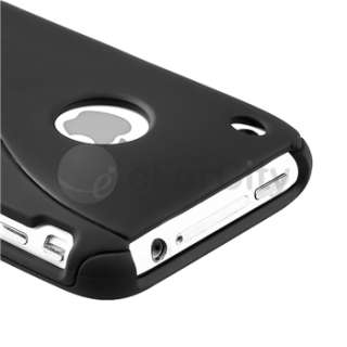 NEW BLACK 3PIECE HARD CASE COVER FOR IPHONE 3GS 3G