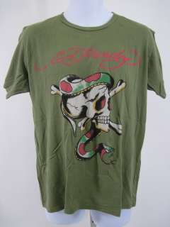 ED HARDY Mens Green Graphic Casual T Shirt Size Large