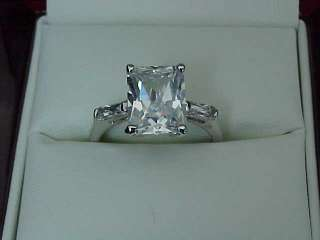 00 carat RADIANT Emerald cut SOLITAIRE cz WEDDING White Gold ep Ring