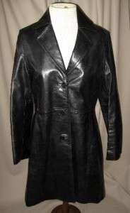 COACH Long Black Leather Coat Size Extra Small