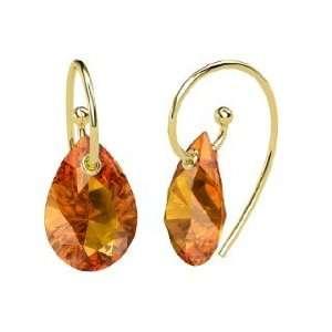 Monsoon Earrings, Pear Citrine 14K Yellow Gold Earrings