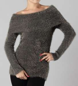 Grey Ultra Soft Cozy Long Sleeve Off Shoulder Sweater Top L*