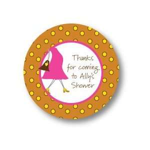 Polka Dot Pear Design   Round Stickers (Perfectly Pregnant