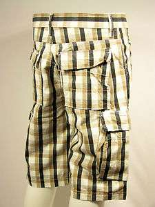 LEVIS JEANS Relaxed Fit Cargo Brown/White Plaid Mens Shorts Pants New