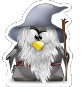 Tux   Linux Penguin Gandalf Sticker   3.75 x 3.5