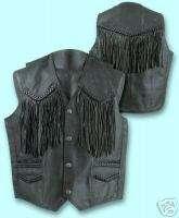 Mens Leather Motorcycle Vest w/Fringe, Braid & Lining