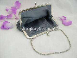 Silver Gray Beaded Sequin Evening Purse Clutch Jeweled Frame EC 0329