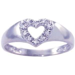 14K White Gold Diamond Sweetheart Promise Ring Diamond