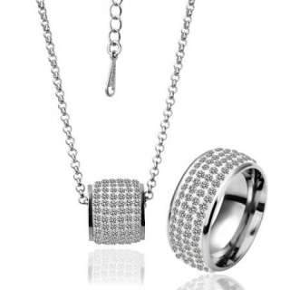 white Gold plated white gem Swarovski crystal ring necklace set