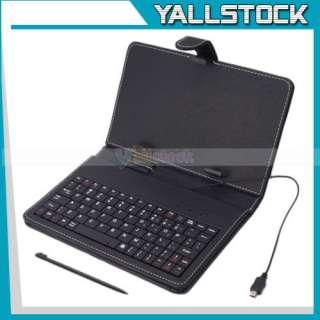 Inch Tablet PC Ebooks USB Keyboard Leather Case Black