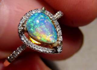 Beautiful Pear Cut Solid Opal & DIAMOND RING 14k Gold