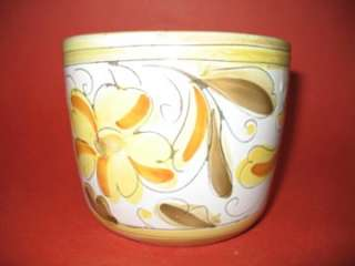 Italian Yellow pottery PLANTER Flower pot Hand Painted Vintage, Vase