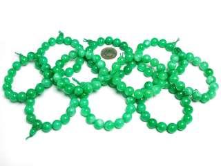 Tibetan 12mm Green Jade Wrist Prayer Beads Mala #04