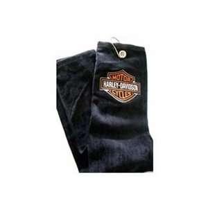 Harley Davidson Tri Fold Golf Towels   Black Orange