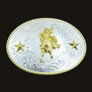 Western Bull Rider Silver and Gold Belt Buckle