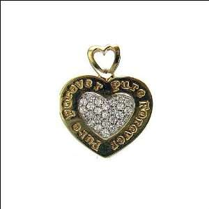 14k Yellow Gold, Pure Forever Heart Pendant Charm Lab Created Gems