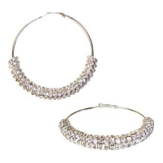 Rhinestone Loose Bead Wheel Hoop Fashion Earrings SILVER COLORED